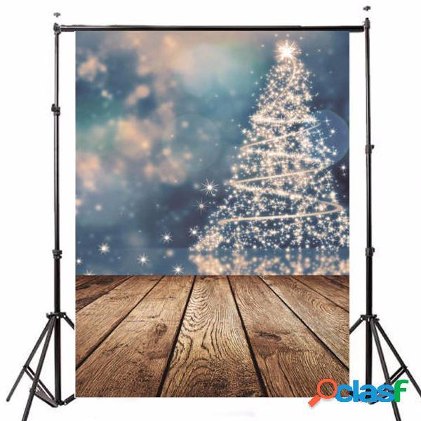 5x7ft vinile fotografia sfondo buon natale albero tema sfondo pavimento in legno per photo studio