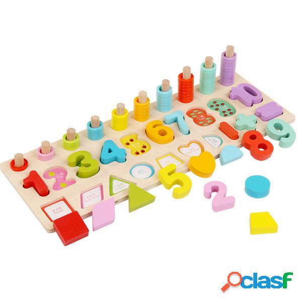 Bambini puzzle di matematica in legno giocattoli numeri imparare giochi educativi coordinazione mano-occhio
