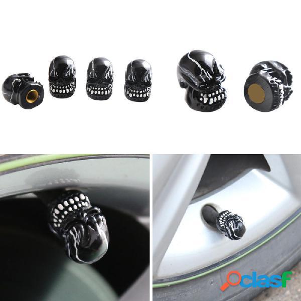 4 pz universale resinaa cranio testa car wheel pneumatico valvola stem caps automobili pneumatico coperchio antipolvere