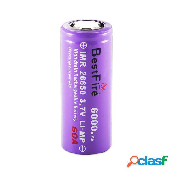 Bestfire 1pc 26650 batteria 6000 mah 60a 3,7 v li-ion ricaricabile batteria