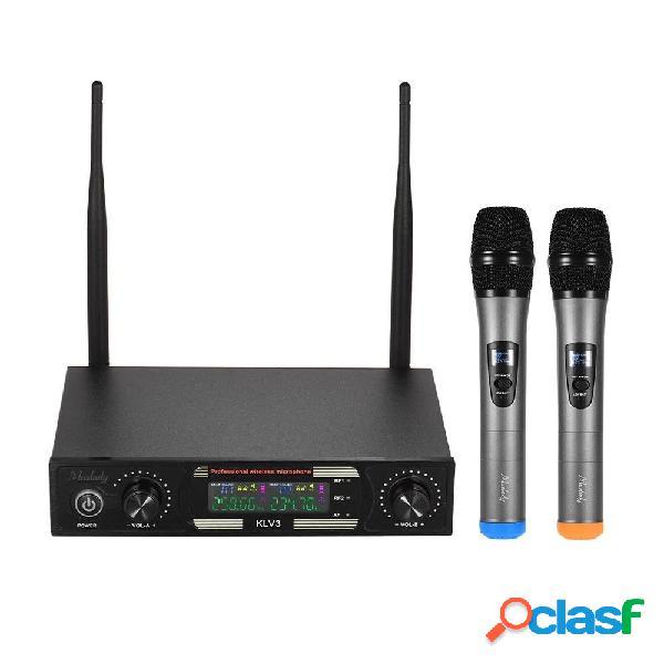 Set di microfoni wireless baobaomi mu-878-1 con 1 schermo a colori per microfono portatile ricevitore 2 per dj business