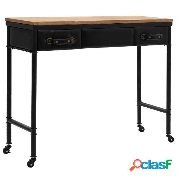 Vidaxl tavolo consolle in mdf e legno di abete 100x33,5x80 cm
