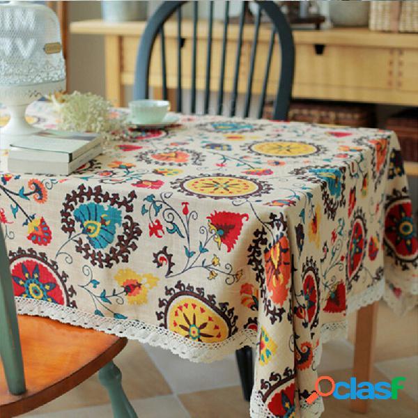 Sole di lino cotone del fiore pad stoviglie tappeto runner tovaglia scrivania copertura di calore ciotola di isolamento