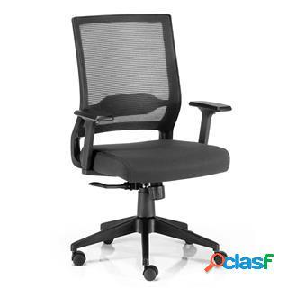Sedia da ufficio isaac, reclinazione sincronizzata, tessuto/rete nero