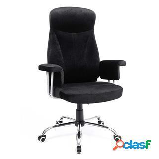 Sedia da ufficio kira, girevole, schienale ergonomico, in tessuto effetto velluto, color nero
