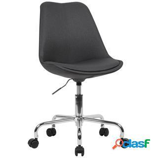 Sedia girevole ariel, sedile imbottito, base in metallo, tessuto nero