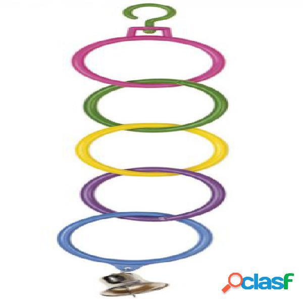 Gioco in plastica colorata per parrocchetti anelli con campanello