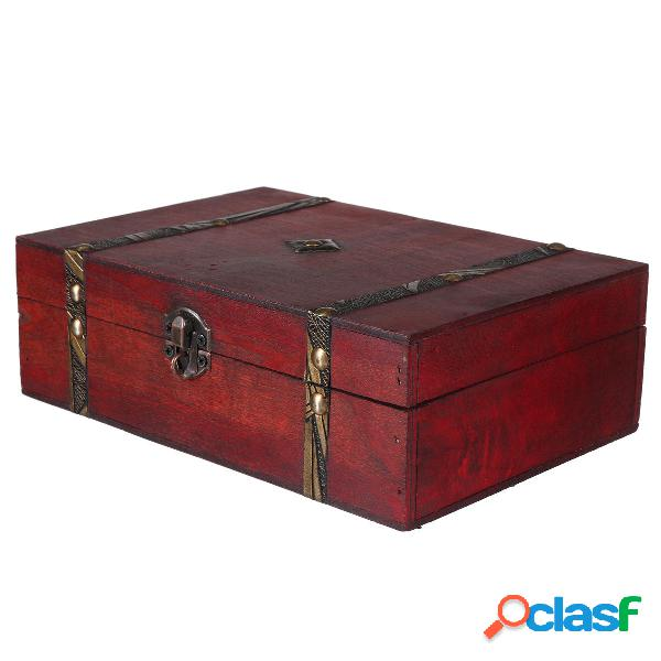 Cassa del tesoro in legno vintage anello di gioielli in legno Scatola custodia organizzatore regalo con serratura decora