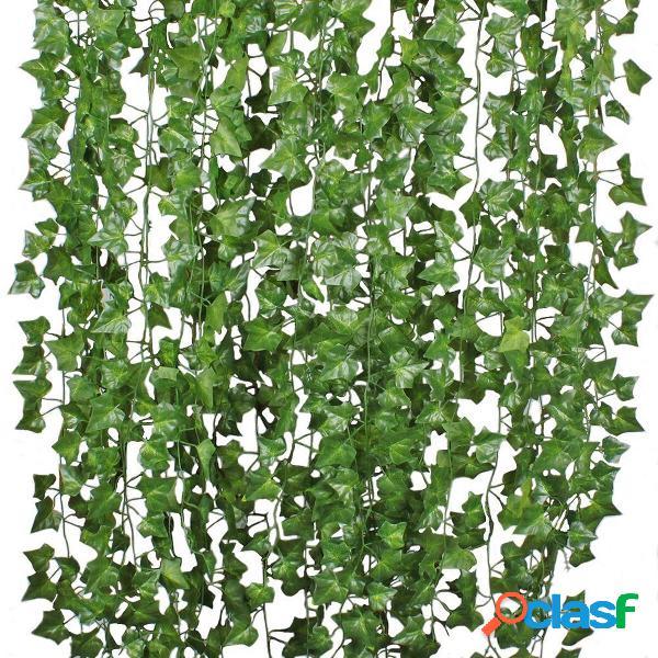 12pcs piante verdi artificiali vite edera foglie ghirlanda appese decorazioni del giardino della festa nuziale