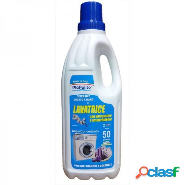 Piu Pulito Detersivo Lavatrice E Bucato A Mano Super Concentrato Con Sgrassatore E Amorbidente 50 Lavaggi 2 Lt