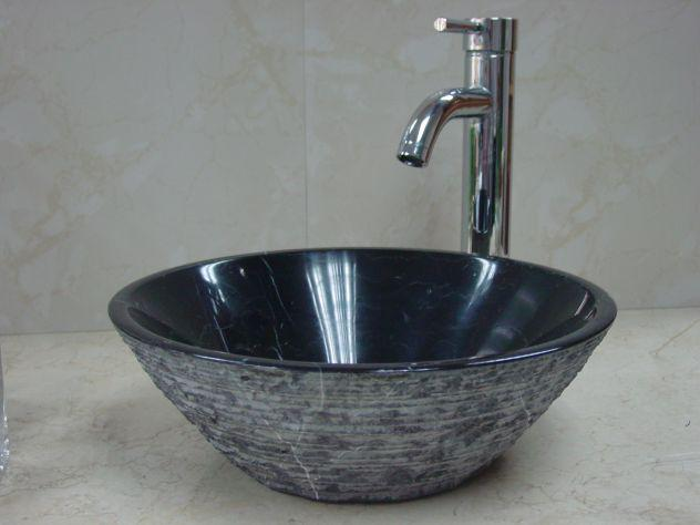 Lavabo da appoggio in marmo nero tondo