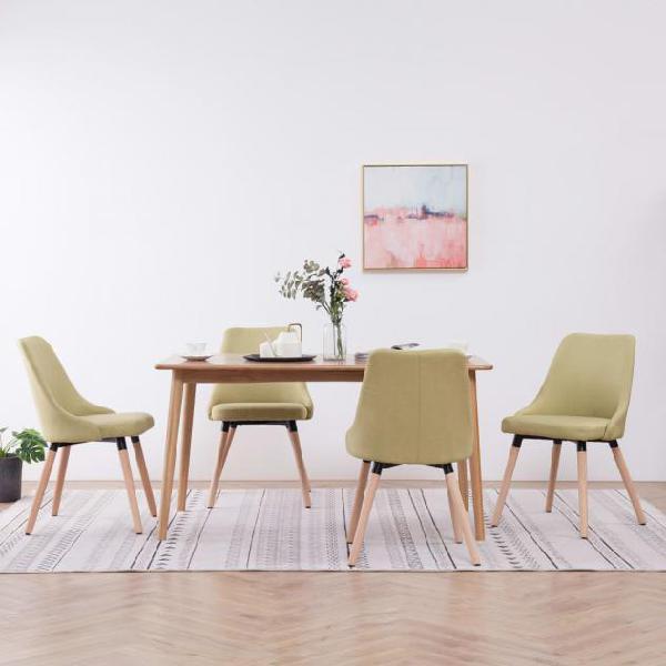 Vidaxl sedie da pranzo 4 pz verdi in tessuto