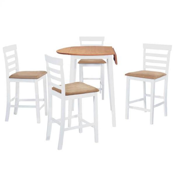 Vidaxl set tavolo e sedie da bar 5 pz legno massello