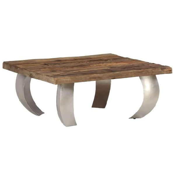 Vidaxl tavolino da caffè in legno di recupero e acciaio