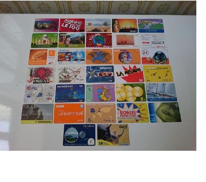 46 schede telefoniche internazionali, alcune molto rare