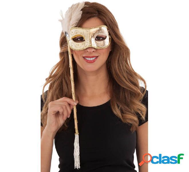 Maschera veneziana con manico e penna