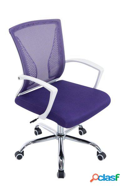 Poltrona da lavoro in mesh traspirante viola e bianco