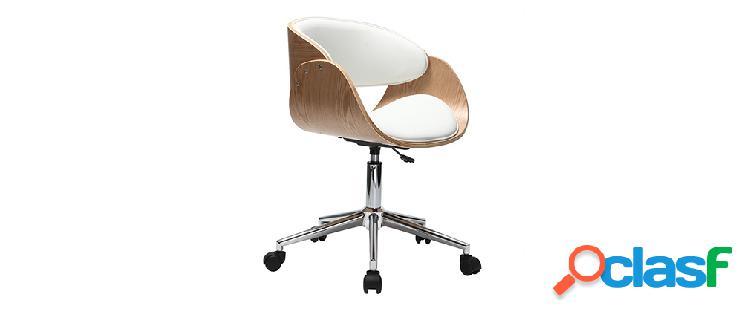 Poltrona design a rotelle bianca e legno chiaro bent