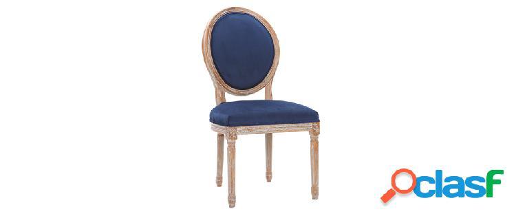 Lotto di 2 sedie in velluto blu notte piedi in legno chiaro legend