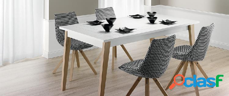 Tavolo da pranzo estensibile laccato bianco opaco e legno l160-250 adorna