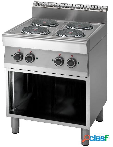 Cucina elettrica con 4 piastre su armadio aperto, profondità 700 mm