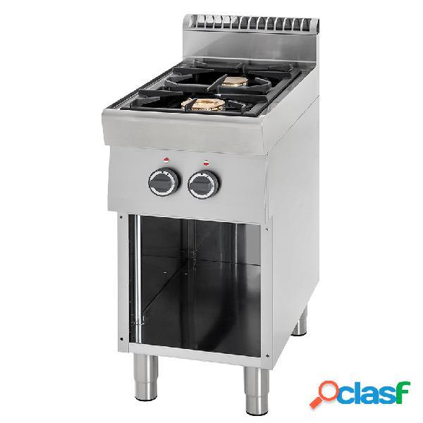 Cucina professionale a gas con 2 fuochi su armadio aperto, profondità 700 mm