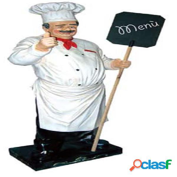 Chef in vetroresina con pala menù - altezza 180 cm