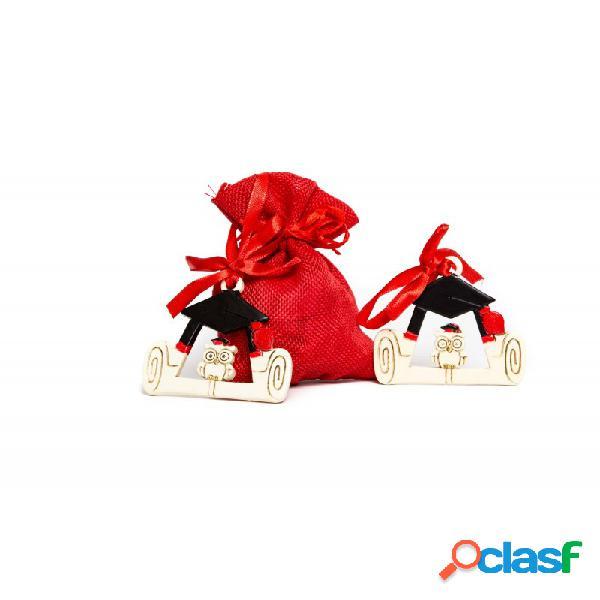 10 x sacchetti rossi porta confetti + 10 cornici gufo qh1703 bomboniera