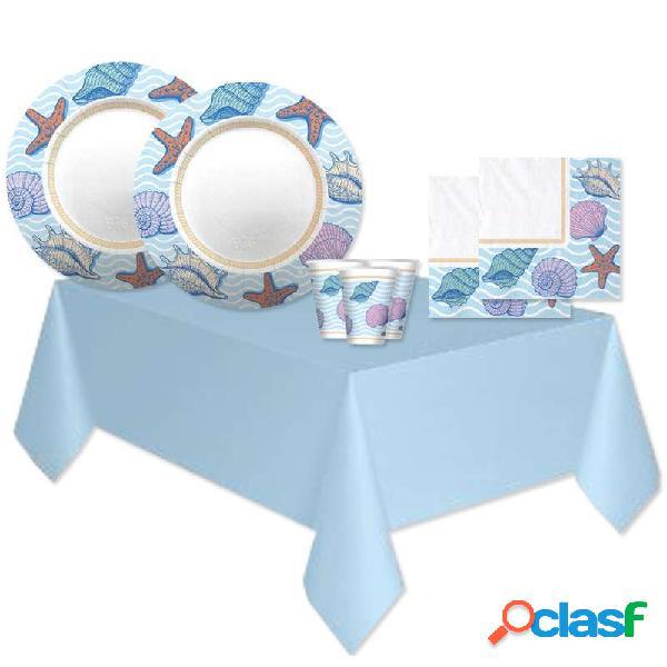 Kit n.16 ocean conchiglie - set tavola per compleanno