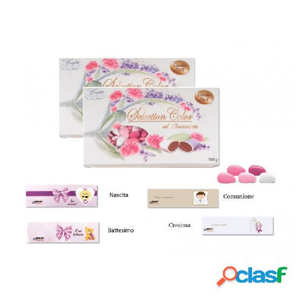 Crispo selection color rosa al cioccolato 2 kg + 100 bigliettini bomboniera
