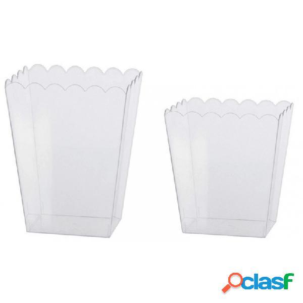 Contenitore plastica quadrato 2 pz. porta confetti 89686 89786