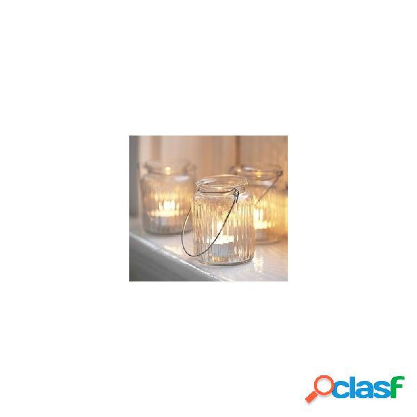 Barattolo satinato in vetro con manico porta candele 6 pz. 19514-0455
