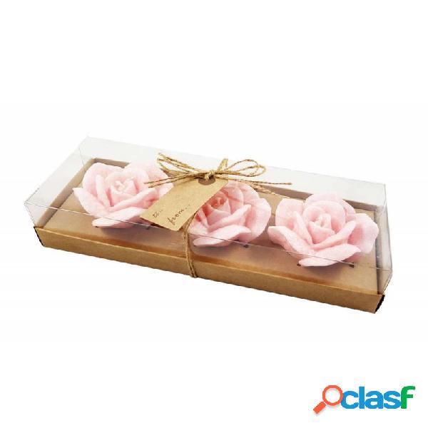 Candele a forma di rosa - confezione di tre candele
