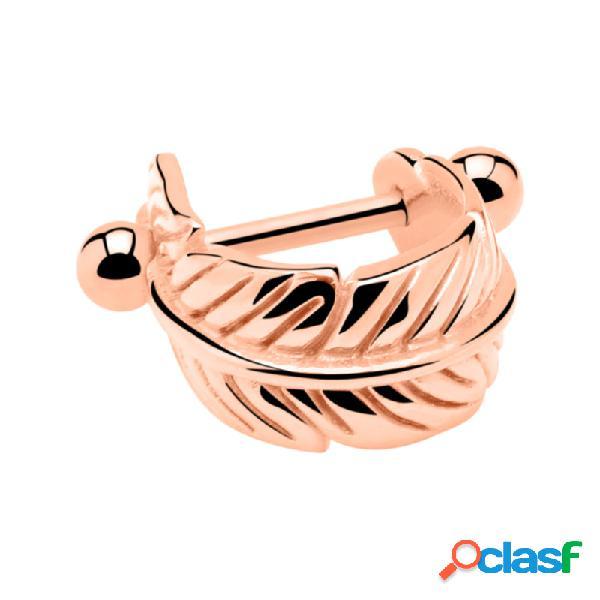 Helix piercing con piuma acciaio chirurgico 316l placcato in oro rosa helix / tragus