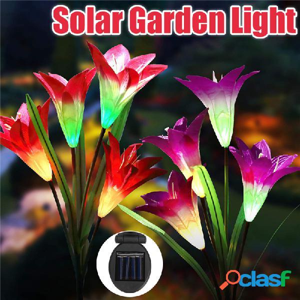 2pcs 4led solare power lily flower stake light multicolor cambiando lampade da giardino esterno impermeabile