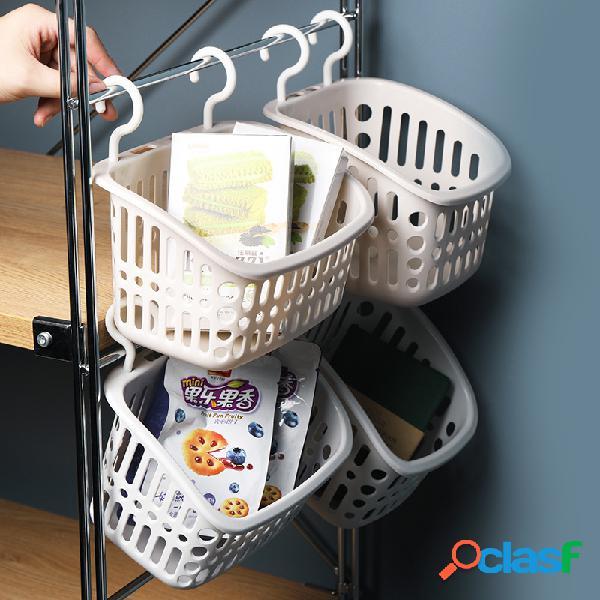 Cestino da cucina con cestello per appendere oggetti vari in plastica multiuso