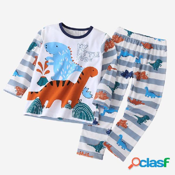 Set pigiama per bambini soft a maniche lunghe a righe con stampa dinosauro per 1-7 anni