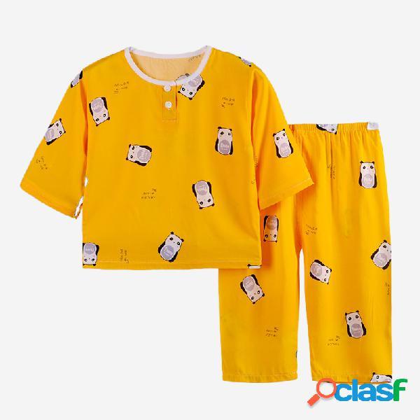 Set pigiama per bambini a tre quarti con stampa animalier frutta per 1-11 anni