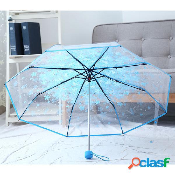 Saiclehome peva romantic cherry blossoms ombrello trasparente ombrello pieghevole ombrello da sole