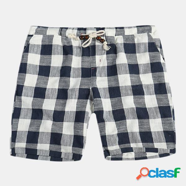 Shorts casual da uomo traspiranti in cotone 100% estivo pantaloncini a quadri scozzesi in stile giapponese