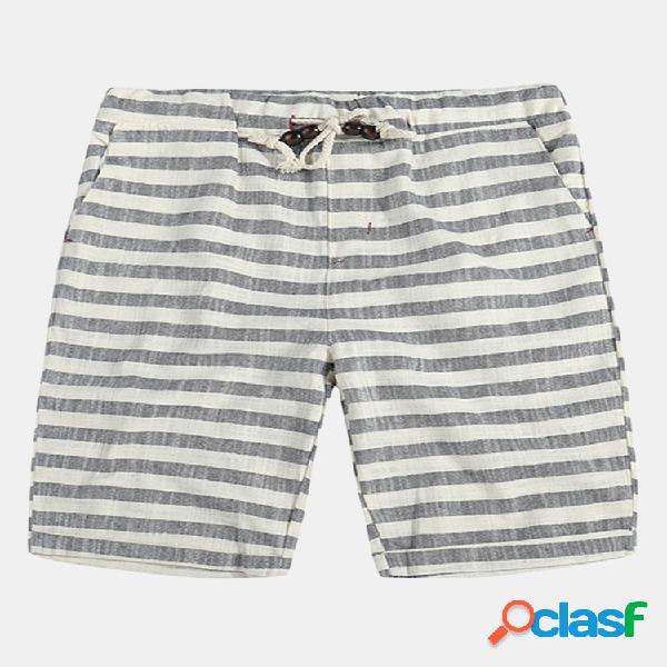 Shorts casual da uomo traspiranti in cotone 100% estivo pantaloncini con coulisse stampati a righe in stile giapponese