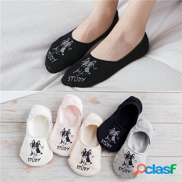 Women cute harajuku print dog invisible boat calze antiscivolo traspirante divertente calze