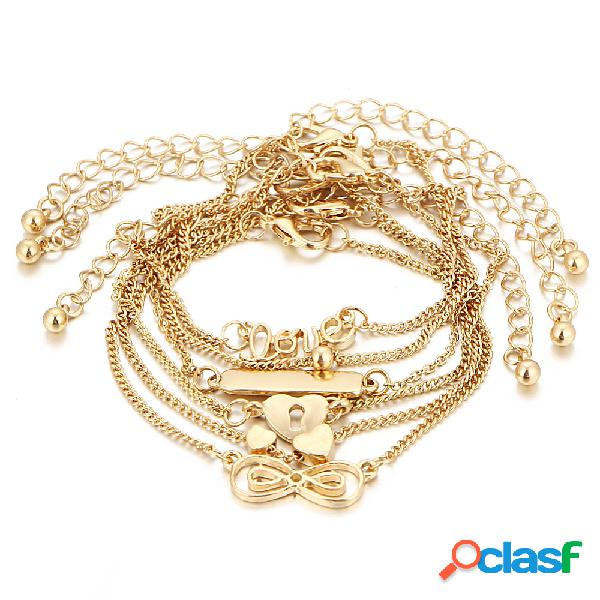 6 pezzi cavigliera set love cuore infinity knot simple gold chain bracelet anklet women gifts