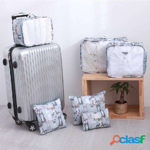 6 pezzi di stoccaggio da viaggio borsa abbigliamento leggero scarpe bagagli selezione borsa