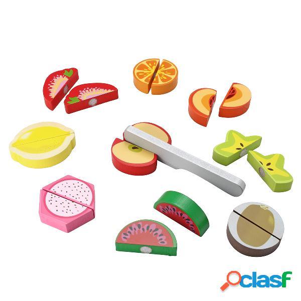 Bambini in legno finta ruolo gioca cibo giocattolo cucina frutta verdura set da taglio