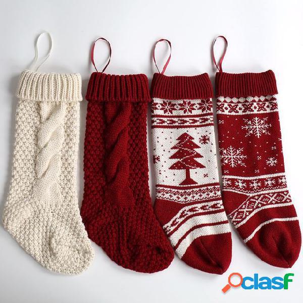 Ornamenti pendenti lana fiocco di neve albero di natale decorativo calze big candy borsa calze di natale