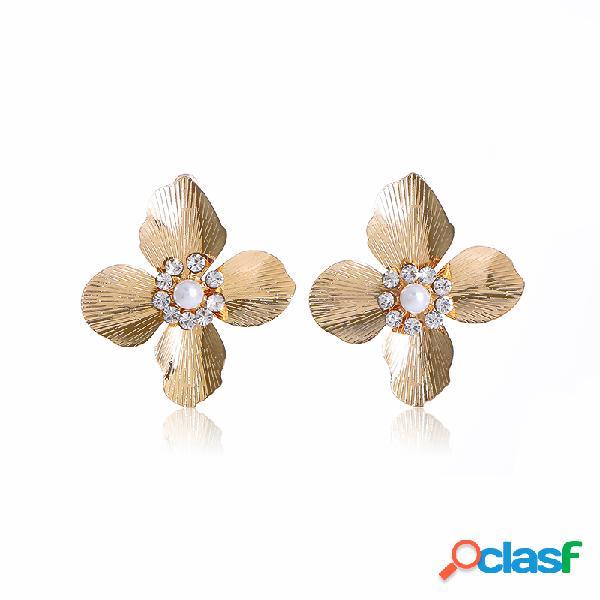 Trendy metal pearl orecchio stud geometric flower rhinestone orecchioring bohemian jewelry for women