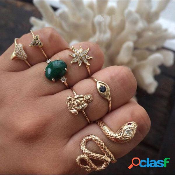 Anelli strass geometrici vintage set sun flower snake metal knuckle anelli gioielli etnici
