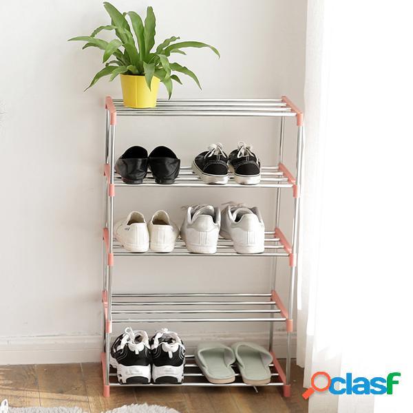 Acciaio inossidabile organizzatore di stoccaggio di scarpiera di diy di 4 livelli per il dormitorio