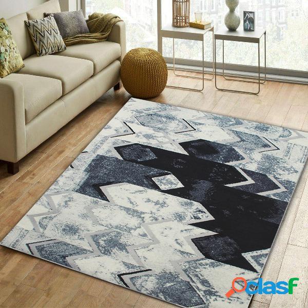 Tappeto moderno nero grigio argento astratto tappeto tappeto tappeto per soggiorno camera da letto